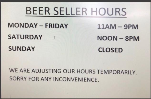 Beer Seller hours
