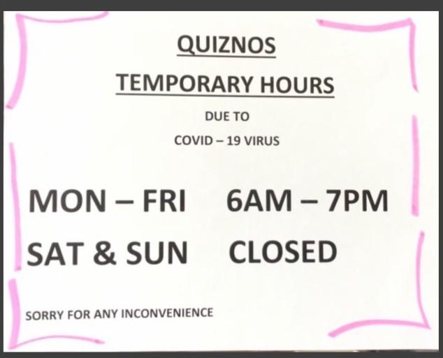 Quiznos hours